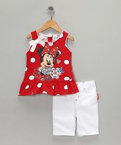 Take a look at this Red Polka Dot Minnie Tunic & Shorts by Minnie & Mickey: Separates on #zulily today!