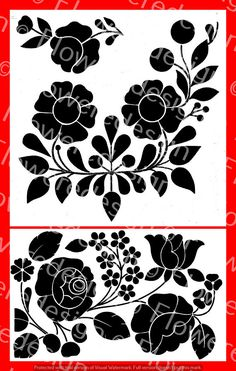 030. Digital flower motif  kalocsai flower motif old