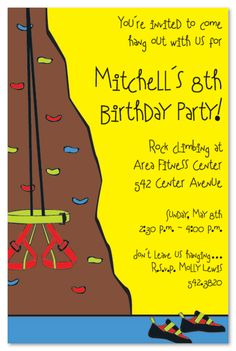 Rock Climb Birthday Party Invitations