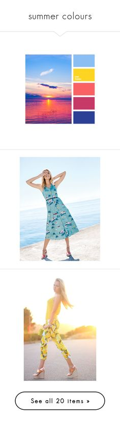 """summer colours"" by zaiee on Polyvore featuring home, home decor, dresses, lightweight dresses, full skirts, lining dress, blue dress, pocket dress, accessories and jeans"
