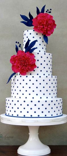 Peonies And Polka Dots Cake Would be lovely for a retro themed wedding.