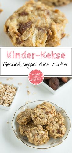 Gesunde Kinder-Kekse ohne Zucker Simple recipe for healthy kids cookies. These biscuits are without sugar, egg, butter and milk. The vegan biscuits are really nice fruity, soft and at the same time pithy. Homemade Baby Puffs, Homemade Baby Snacks, Homemade Biscuits, Biscuits Végétaliens, Teething Biscuits, Easy Snacks, Easy Desserts, Dessert Recipes, Dessert Simple