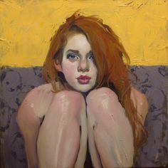 Malcolm T. Liepke - painting - woman - red hair - knees - shins - looking at viewer - shoulders - lips - nose - eyes - face