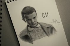 Still pretty? ❤ graphite on paper - Eleven from Stranger Things by Noelle Deraco