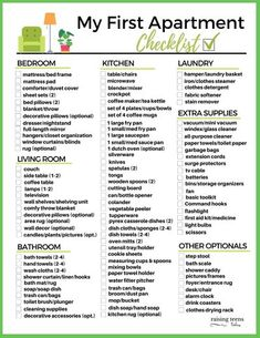 FREE PRINTABLE: My First Apartment Checklist. From furniture and kitchen necessities to cleaning supplies and all the extras, this handy list will make shopping for your first apartment (or house) a snap! #firstapartmentchecklist #firstapartment #firstapartmentchecklist #freeprintables First Apartment Checklist, My First Apartment, Graduation Party Planning, Kitchen Necessities, Clothes Steamer, How To Iron Clothes, Mattress Pad, Sheet Sets, Getting Organized