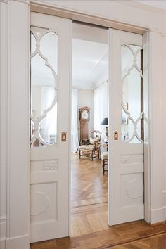 LOVE these doors.always have loved pocket doors from the moment I realized the doors into my g-ma's parlor (victorian home) had huge pocket doors. House Styles, House Plans, House Design, Interior Design, House Interior, Home, House, Interior, Doors Interior