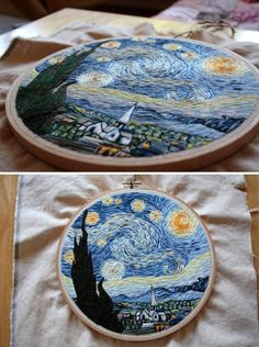 Van Gogh's The Starry Night embroidered. What amazing detail! #embroidery #art More