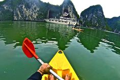Kayaking through Halong Bay Vietnam