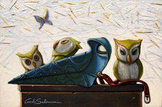 Artique   PLAGUE DOCTOR OWLS - 2015 - Acrylics on board, Ready to hang, framed (9,1 x 13,1 x 0,6 i i)   Carlo Salomoni