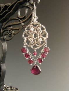 Helm Circle Chain Maille Earrings with Garnet by WolfstoneJewelry
