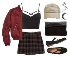 """""""plaid"""" by angry-brontosaurus ❤ liked on Polyvore featuring Charlotte Russe, MANGO, Topshop and Kill Star"""