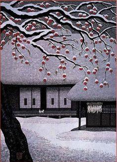 Sudden Snow woodblock print by Kazuyuki Ohtsu (Japanese) Japan Illustration, Art Occidental, Japanese Woodcut, Art Asiatique, Japanese Painting, Japanese Prints, Japan Art, Woodblock Print, Chinese Art