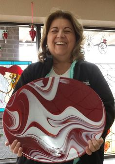 Sue Darte, justifiably proud of her huge fused glass bowl. The red is incredible in person. Fused Glass Bowl, Arched Windows, The Incredibles, Cake, Desserts, Food, Bow Windows, Tailgate Desserts, Pie
