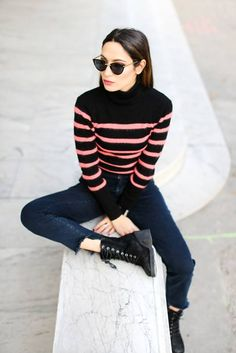 Chuck a statement stripy jumper on with jeans and biker boots and you're good to go