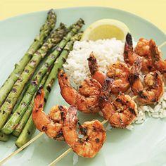 grilled shrimp and asparagus #summer #dishes