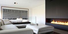 That linear fireplace! #InteriorDesign #Modern