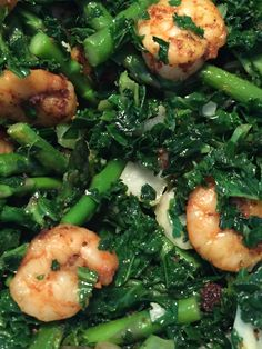 Tiger prawns, kale, asparagus, fennel, onion, garlic, raz el hanout