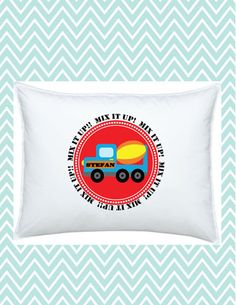 Construction Pillowcase Personalized Cement Truck for Kids, #funkymonkeythreads, #FMT
