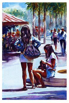 "Girls take a break by Graham Berry Watercolor ~ 11"" x 8"""