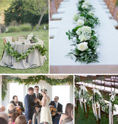 greenery garland of eucalyptus leaves and white roses.