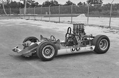 At Nassau in 1965, the Chaparral 2C sits naked, stripped of all bodywork. During the race, the right front suspension failed, and the car went off, losing the right rear wheel as well. Damage to the tub was minor. Returned to Midland, the tub was repaired and rebuilt as the first Chaparral 2E, serial number 2E001. Eric della Faille photo.