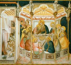 Assisi-frescoes-last-supper-3931 Lorenzetti Pietro - Лоренцетти, Пьетро — Википедия. Пьетро Лоренцетти. «Тайная вечеря» фреска. 1320 г. ц. Сан Франческо, Ассизи.