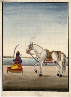 Kalki, the future incarnation of Viṣṇu. He is shown here seated on a decorated platform holding a double bladed sword and a bow. He is of a dark complexion and is lavishly bejewelled. A golden crown rests on his head and he is shown in profile. Behind Kalki stands a white horse, a common symbol of Kalki. The horse wears an elaborately decorated saddle and bridle and tucked into the saddle are two chauris (fly-whisks). Company School, Patna, 19th century.