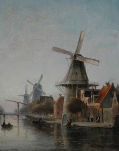 Cornelis Christiaan Dommelshuizen (Utrecht 1842-1928 Den Haag) Windmill 'De Rozenboom' near the Overtoom, Amsterdam - Dutch Art Gallery Simonis and Buunk Ede, Netherlands.