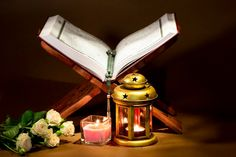 Islamic New Year, Pile Of Books, Anime Art Fantasy, Book Stands, Purple Backgrounds, Wooden Background, Mandala Design, White Roses, String Lights