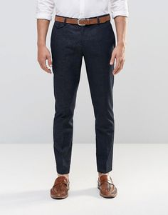 River Island Skinny Fit Smart Trousers In Navy With Textured Pattern