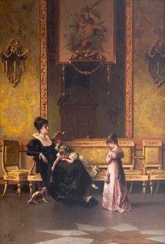 Crosio, Luigi (b,1835)– Mother Reading to Children -2b