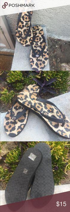 Coach Brand Leopard print flip flops Coach brand Leopard print flip flops. Never been worn. Coach Shoes Sandals