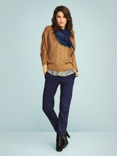 Modern and feminine, this stylish, cable-detailed Jackpot knit is ideal for a cool, contemporary look. Spring Fashion, Harem Pants, Anthropologie, Women Wear, Feminine, Pullover, Knitting, Stylish, Contemporary