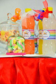 Bottigline d'acqua Rainbow Party