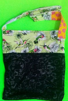Humming bird/faux black leather designer fabric/ tote/upcycled by  one of a kind larissamyrie.art washable, strong, upcycled, fun, #fashion #style #art #barbie #shoppingbag #totebag #shoulderbag #slowfashion