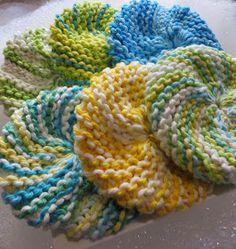 Sewing The Seasons: Knitted Scrubbies Scrubbies Crochet Pattern, Knitted Washcloth Patterns, Knitted Washcloths, Dishcloth Knitting Patterns, Free Knitting, Crochet Towel, Crochet Dishcloths, Knitting Needles, Free Crochet
