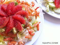 Smoked Trout & Crayfish Summer Salad with Cucumber, Avocado, Grapefruit, Crispy Lettuce, Lemon Juice & Passion Fruit-Citrus Vinaigrette, by Aujourd'hui, j'ai testé