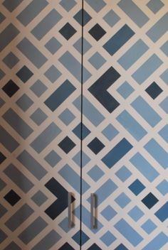 think-make-do-learn: Ikea Dombas Transformation (Ikea Hack) - Frog tape and Annie Sloan chalk paint in Aubusson Blue and Old White. Geometric pattern wardrobe.