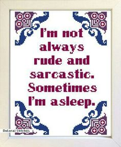 Sarcastic wall by ShopDeLorai Cross Stitch Quotes, Cross Stitch Kits, Funny Cross Stitch Patterns, Cross Stitch Designs, Cross Stitching, Cross Stitch Embroidery, Hand Embroidery, Subversive Cross Stitches, Snitches Get Stitches