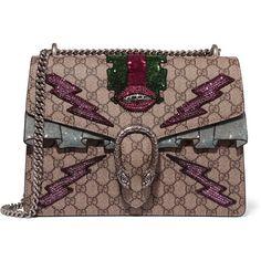 Gucci Dionysus medium appliquéd coated canvas shoulder bag ($3,800) via Polyvore featuring bags, handbags, shoulder bags, beige, gucci, lips pursed, shoulder handbags, beige handbags and structured handbags