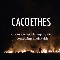 Cacoethes  ˌkakōˈwēT͟Hēz  mid 16th Latin origin from Greek kakoethes 'ill-disposed' #beautifulwords #wordoftheday #korea