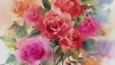 """Dessin et peinture - vidéo 1926 : Comment peindre des roses à l'aquarelle et au tampon, avec la méthode """"humide sur humide"""" 2 ?"""
