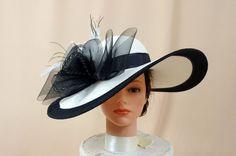 a49d2224768 Kentucky Derby Hat   Black and White Hat   Ascot Hat   Wide Brim Hat    Wedding Hat   Church Hat   Formal Hat   Tea Party Hat   Summer Hat