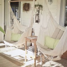 hammock porch swings.  @Melanie Crocker These look even more comfortable than the other front porch swings.