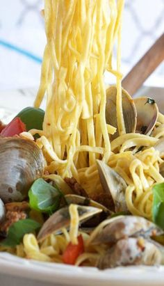 Linguine with Clams Chorizo and Roasted Tomatoes