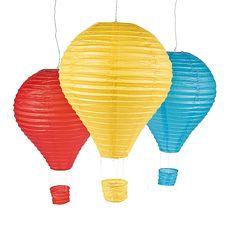 Hot air balloon paper lanterns from Oriental Trading Balloon Lanterns, Hanging Paper Lanterns, Hot Air Balloon Centerpieces, Patio Lanterns, Sky Lanterns, Balloon Decorations, Blue Balloons, Colourful Balloons, Helium Balloons