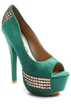 #GREEN FAUX SUEDE STUDDED PEEPTOE PUMPS HEELS,Sexy Heels,High heel shoes,Women's sexy heel shoes,Stiletto Heel,new spring heels,fashionable black heels,occasion party heel shoes,designer giadiator heels,prom heel,red,pink,heels at PinkBasis