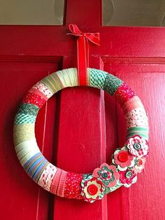 fabric wreath tutorial, want to try! Christmas Wreaths To Make, How To Make Wreaths, Christmas Crafts, Christmas Decorations, Candle Decorations, Christmas Patterns, Christmas Ribbon, Modern Christmas, Baby Crafts