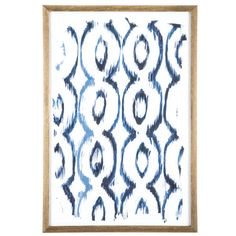 Blue Ikat Wood Wall Decor