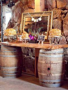 wine barrel console